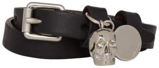 Alexander McQueen Black and Silver Double Wrap Skull Bracelet