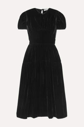 Cecilie Bahnsen - Tia Velvet Midi Dress - Black