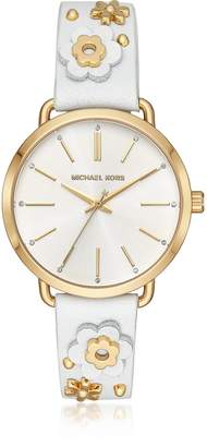 Michael Kors Portia Floral Applique Leather and Gold-Tone Women's Watch