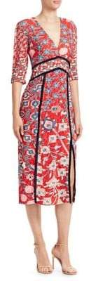Peter Pilotto Floral Print Fil Coupe Midi Dress