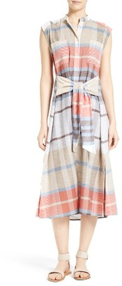 Women's Sea Tie Waist Plaid Dress $395 thestylecure.com