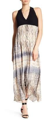 Hale Bob V-Neck Crochet Print Maxi Dress