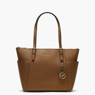 Michael Kors Jet Set Pocket Acorn Leather Top Zip Tote Bag