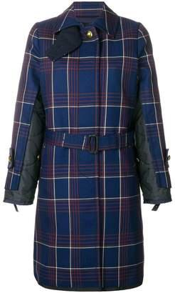 Sacai plaid trench coat