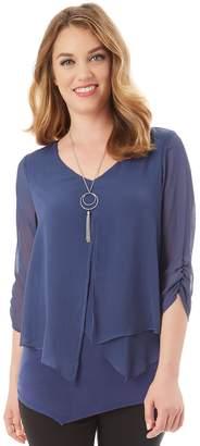 Apt. 9 Women's Asymmetrical Chiffon Popover Top & Necklace Set