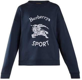 Burberry Unisex Logo Print Cotton Blend Sweatshirt - Womens - Navy