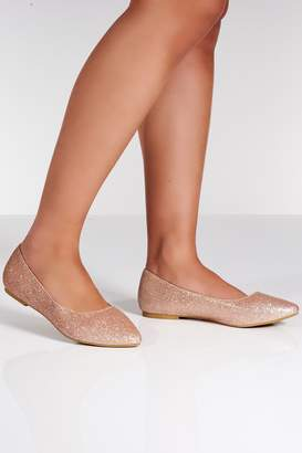 Quiz Rose Gold Glitter Flat Pumps