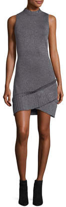 Parker Mace Sleeveless Fitted Metallic Knit Dress