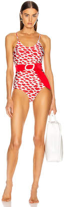 Adriana Degreas Bacio Swimsuit with Straps and Belt in Red & Off White | FWRD