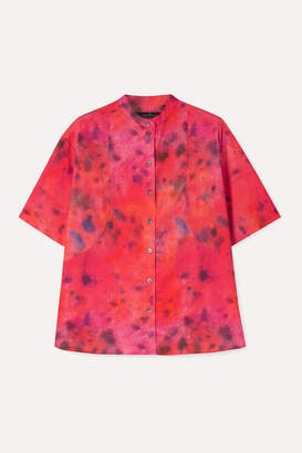 Rokh Tie-dyed Cotton-poplin Shirt - Bright pink