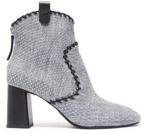 Alice + Olivia Myra Whipstitched Studded Denim Ankle Boots