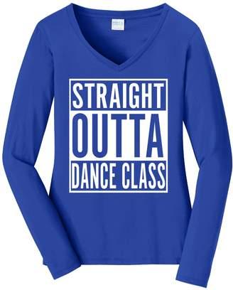 Dance Class Tenacitee Women's Straight Outta Long Sleeve V Neck T-Shirt