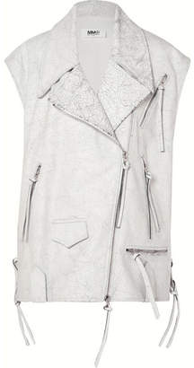 MM6 MAISON MARGIELA Oversized Cracked-leather Vest - White