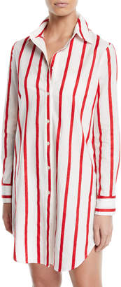 Milly Jessica Long-Sleeve Button-Front Striped Coverup Shirt