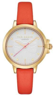 Ted Baker Women's Orange Leather Strap Watch, 32mm