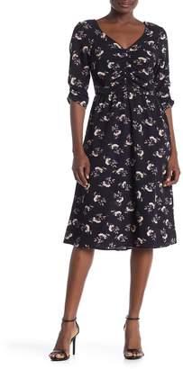 Bobeau Ruched Floral Midi Dress