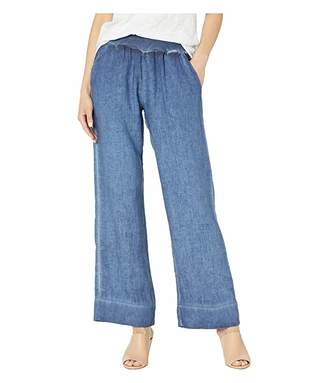 Elliott Lauren Stone Wash Linen Pull-On Relaxed Pants with Pockets