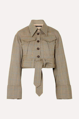 Rokh - Belted Houndstooth Wool Jacket - Sand