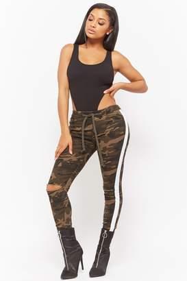 Forever 21 Camo Contrast Stripe Skinny Pants