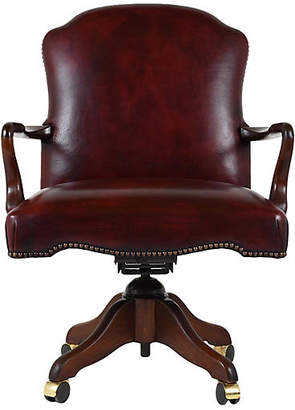 One Kings Lane Vintage Regency-style Leather Office Chair - Castle Antiques & Design