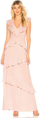 BCBGMAXAZRIA Ruffled Evening Gown