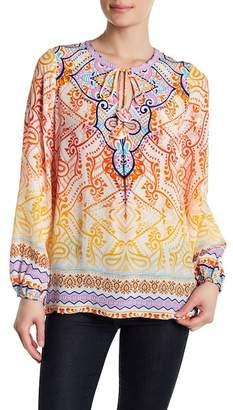 Hale Bob Long Sleeve Print Silk Tunic