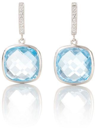 Gump's Blue Topaz & Diamond Earrings