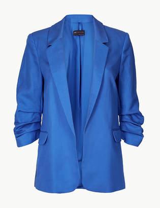 Marks and Spencer PETITE Linen Blend Open Front Blazer