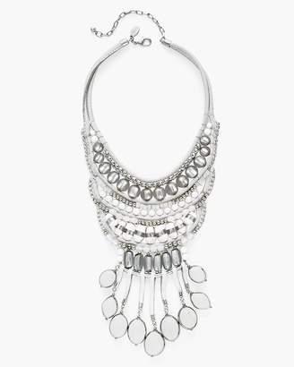White and Silver-Tone Bib Necklace