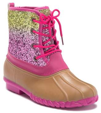 OLIVIA MILLER Pink & Gold Glitter Duck Boot (Toddler, Little Kid, & Big Kid)