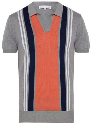 Orlebar Brown Horton Striped Cotton Polo Shirt - Mens - Orange Multi