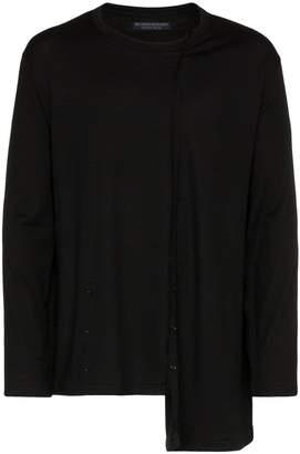 Yohji Yamamoto diagonal long sleeve cotton wool-blend top