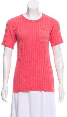 Prada Rib-Knit Short Sleeve Top