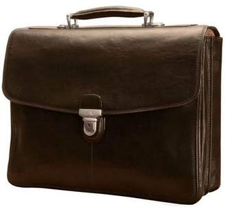 Tony Perotti Bella Russo 17 in. Leather Laptop Double Gusset Briefcase (Brown)