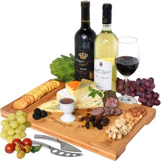 Large Bamboo Cheese Board / Charcuterie Board - Cheese, Fruits, Meat and Cracker Serving Tray by Royal Craft Wood
