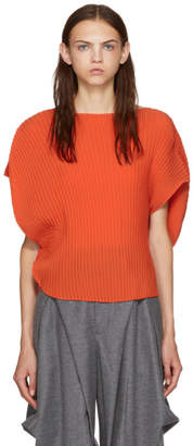 Issey Miyake Orange Circular Sunlight Pleats Blouse