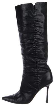 Jimmy Choo Ruched Leather Knee-High Boots Black Ruched Leather Knee-High Boots