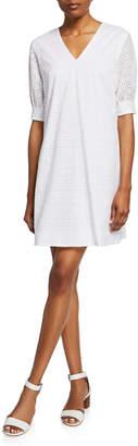 Neiman Marcus Eyelet Sheath Dress w\/ Three-Quarter Sleeves