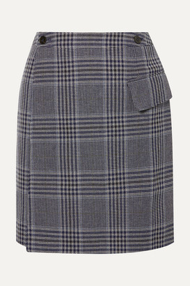Acne Studios Ivonne Checked Cotton-blend Wrap Mini Skirt - Navy