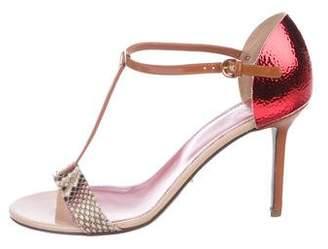 Sergio Rossi Patent Leather T-Strap Sandals