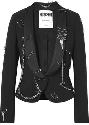 Moschino Embellished Crepe Blazer - Black