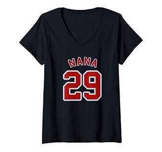 Womens Retro Style Grandma Sports Gift Nana Of 29 V-Neck T-Shirt