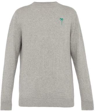 The Elder Statesman Palm Tree Embroidered Cashmere Sweater - Mens - Grey