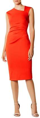 Karen Millen Asymmetric Ruched Sheath Dress