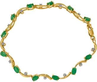 "14K Gemstone & Diamond 7"" Bracelet, 5.2g"