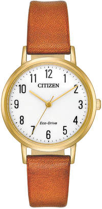 Citizen Eco-Drive Women's Brown Leather Strap Watch 30mm