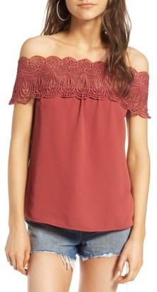 Women's Wayf Lace Off The Shoulder Top $65 thestylecure.com