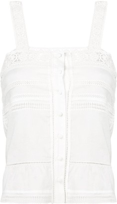 Saint Laurent broderie anglaise detail tank top