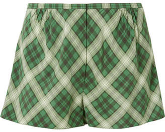 Marc Jacobs Plaid Washed-silk Shorts - Green