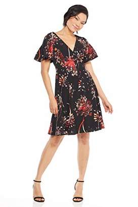 London Times Women's Pleat Sleeve V Neck FIT and Flare Dress